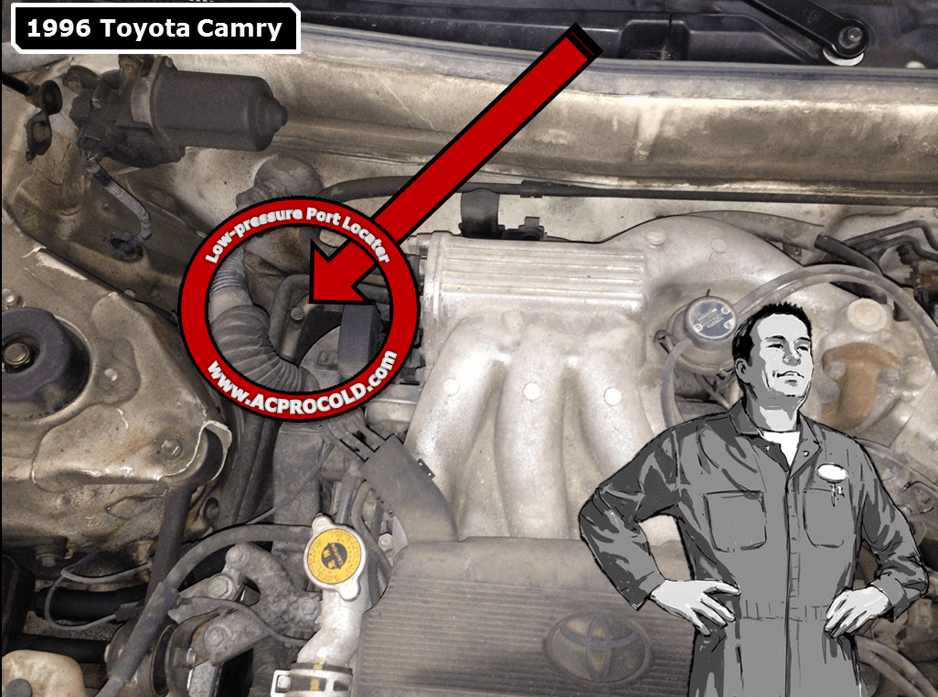 1996 Toyota Camry Low Pressure A/C Service Port