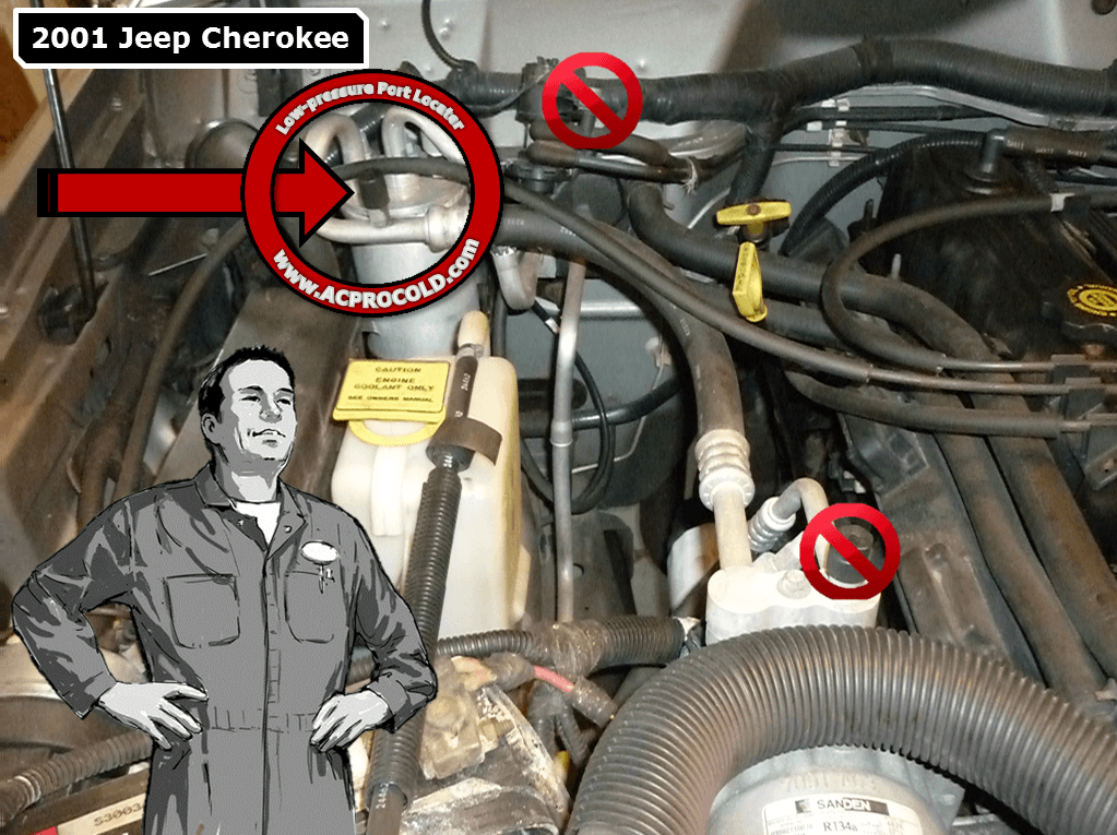 2001 Jeep Cherokee Low Pressure A/C Service Port