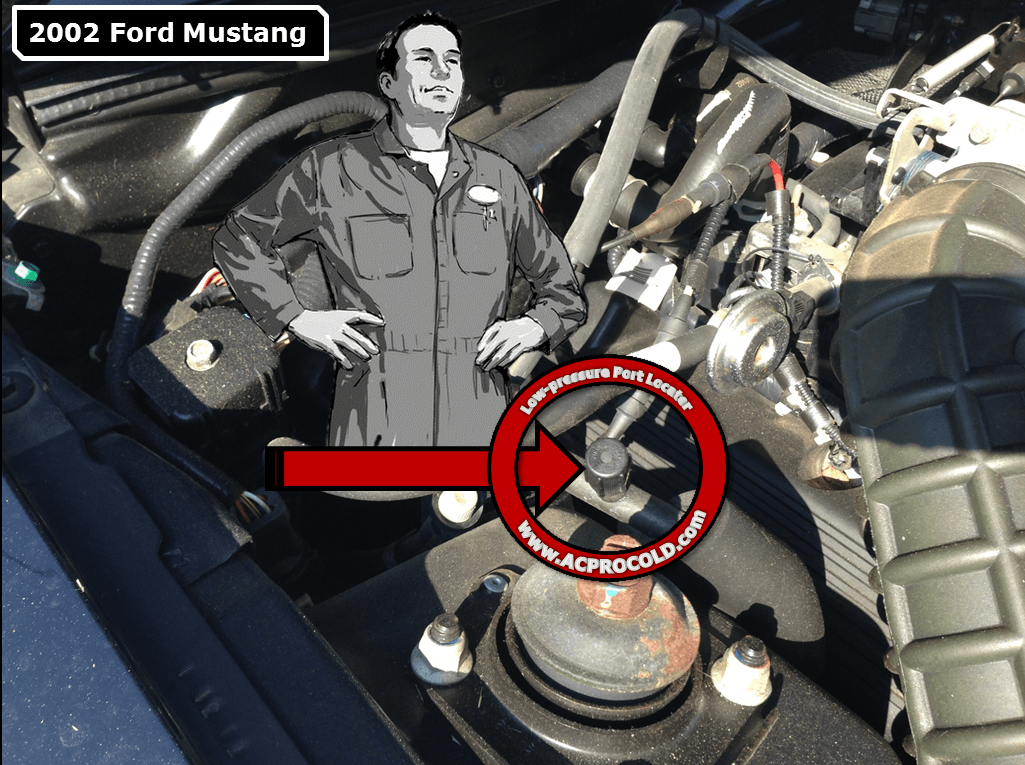 2002 Ford Mustang A/C Low Pressure Service Port
