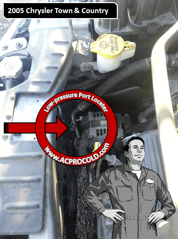 2005 Chrysler Town & Country A/C Low Pressure Service Port