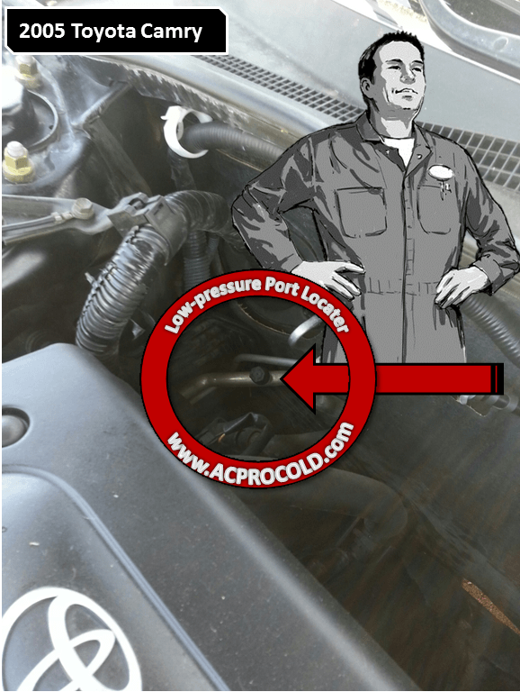 2005 Toyota Camry Low Pressure A/C Service Port