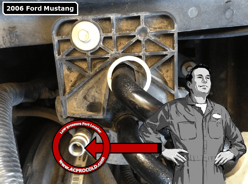 2006 Ford Mustang A/C Low Pressure Service Port