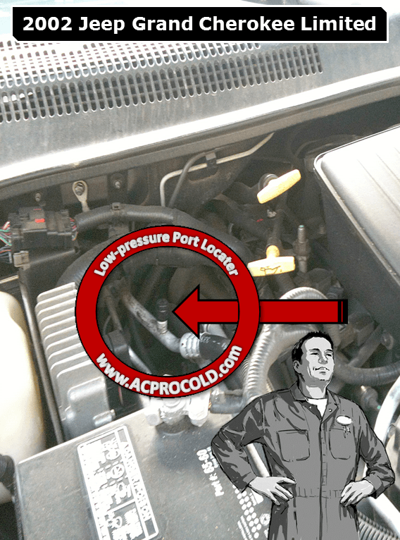 2002 Jeep Grand Cherokee Limited Low Pressure A/C Service Port