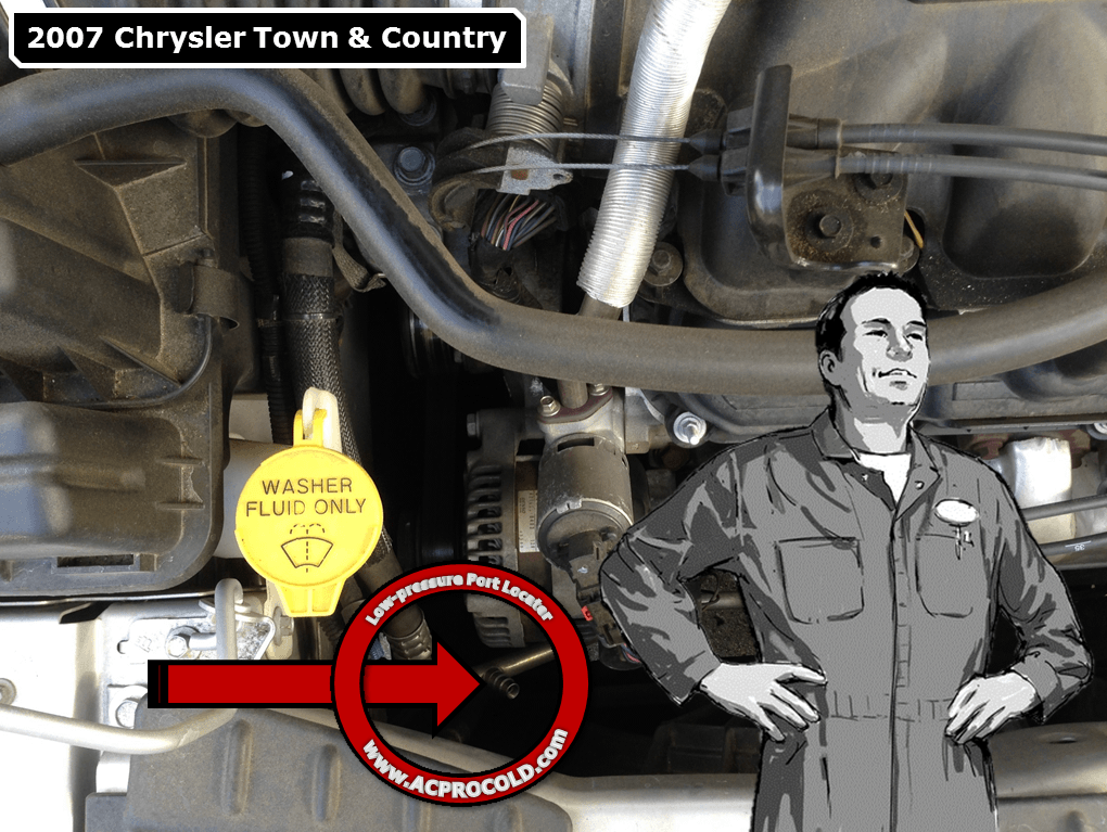 2007 Chrysler Town & Country A/C Low Pressure Service Port