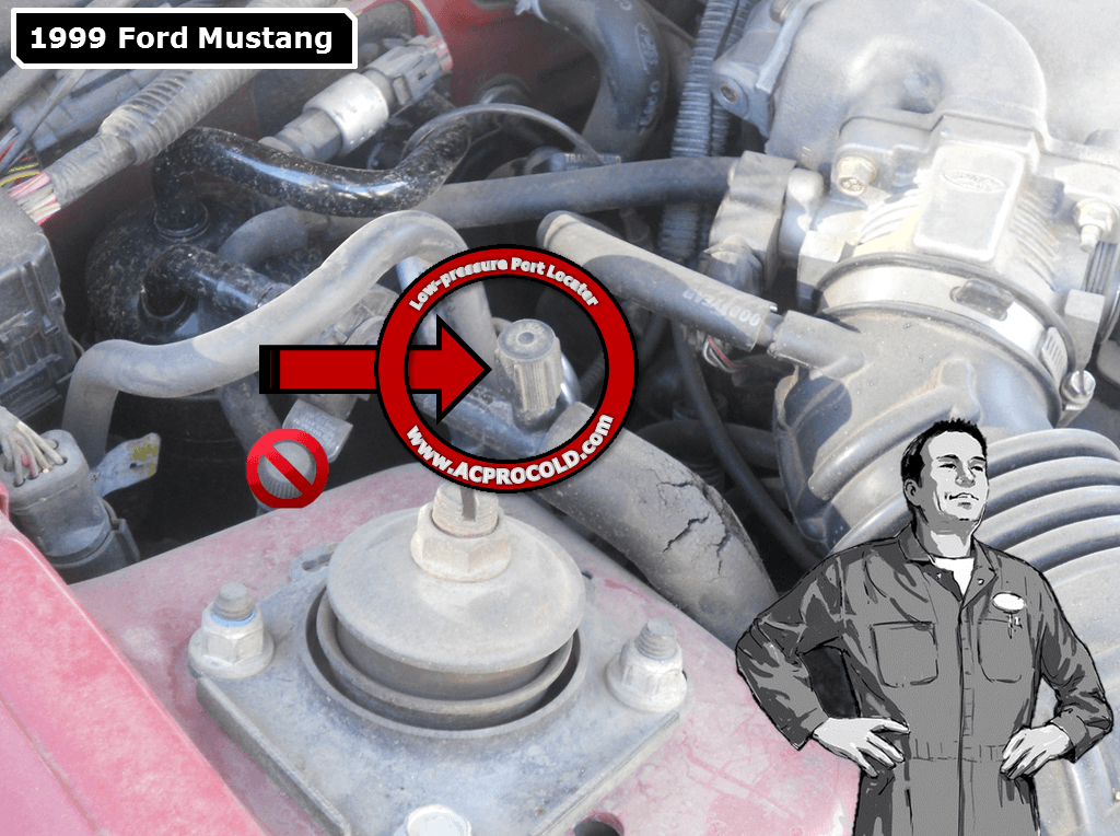 1999 Ford Mustang A/C Low Pressure Service Port