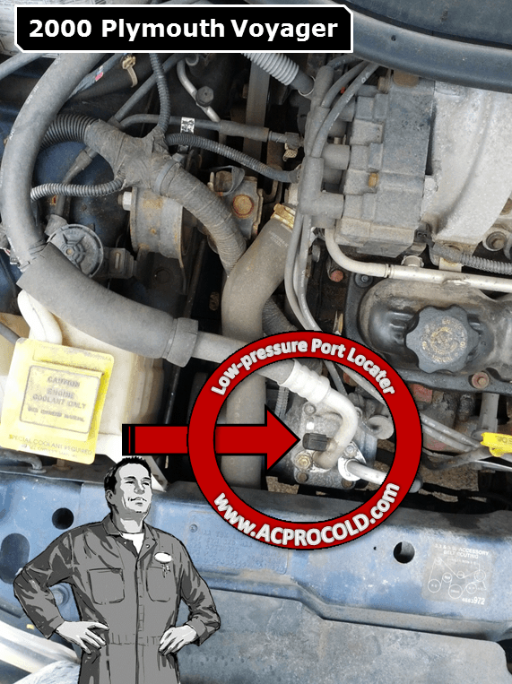 2000 PLymouth Voyager A/C Low Pressure Service Port