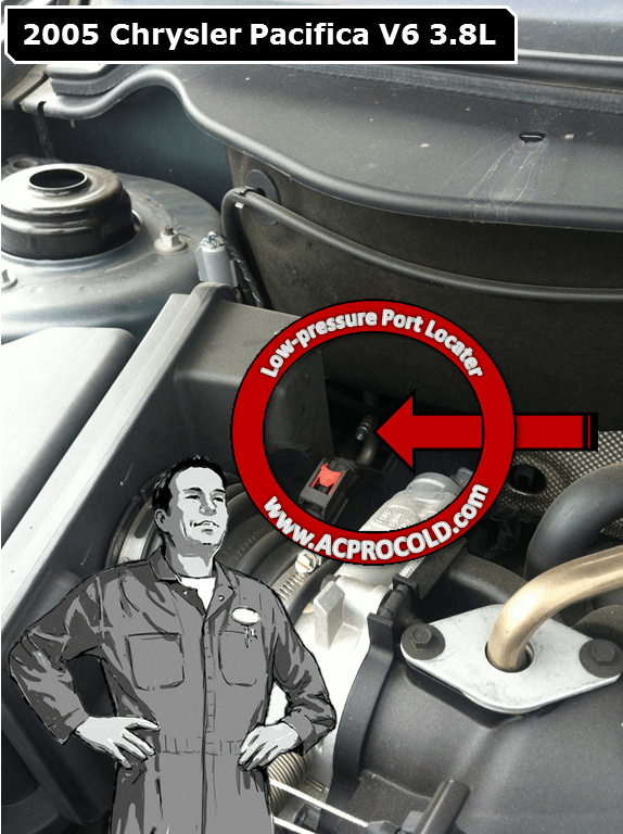 2005 Chrysler Pacifica A/C Low Pressure Service Port