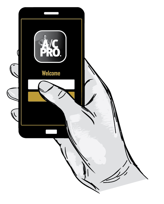 hand holding a mobile device displaying ACPRO app